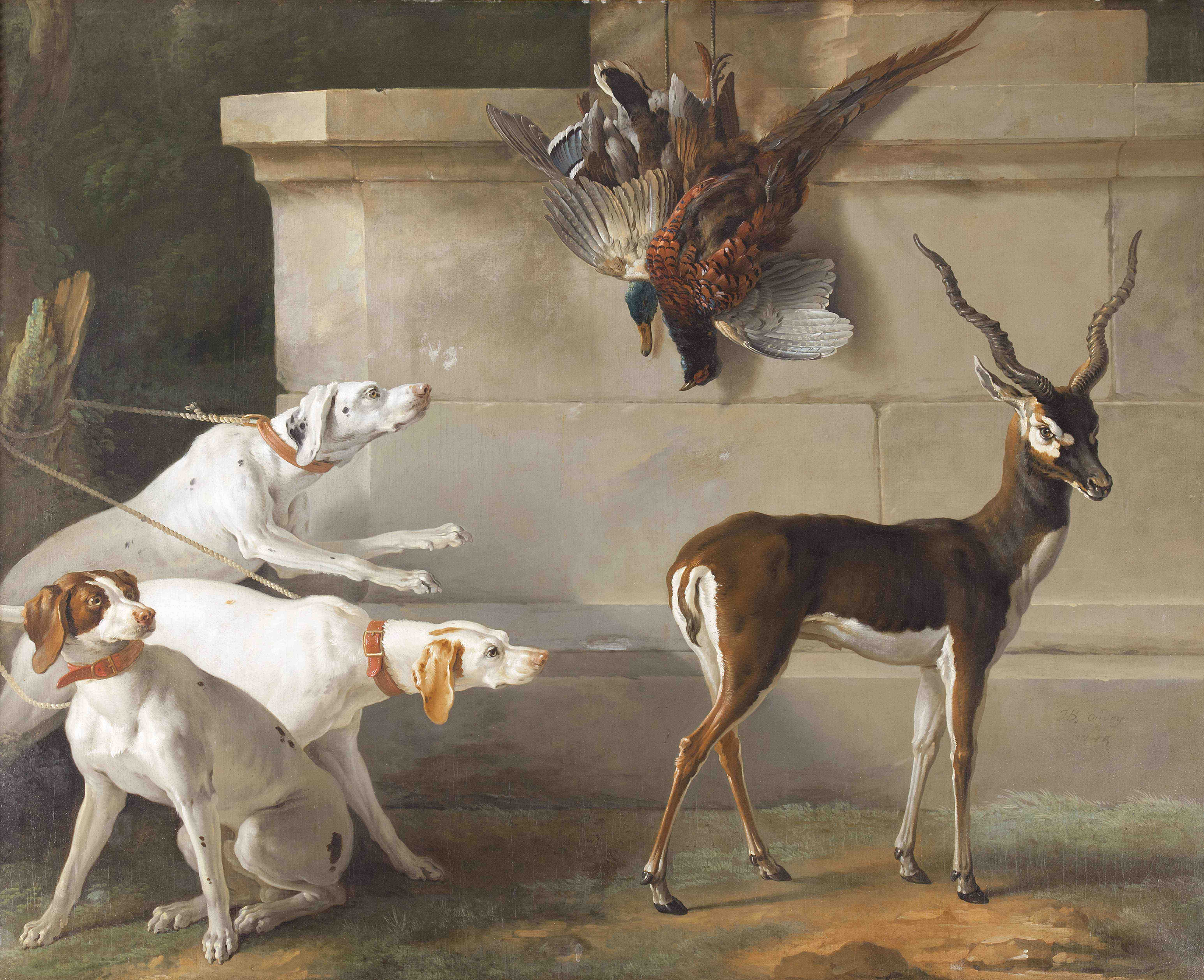 Fig 347 Indian Blackbuck and pointers by Jean Babtiste Oudry 1745